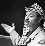 Yasser Arafat à la tribune de l'ONU le 13 novembre 1974