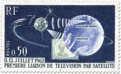 Photo du timbre commémorant la première liaison de télévision par satellite